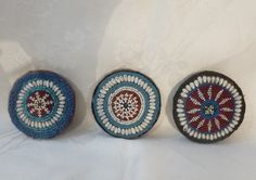 Beadwork ~ Afganistan ~ 3 Round Beaded Medallions ~ Collectors Antique ~ Gul i Peron ~ dia ~ Red White Blue Beads / White Shells Neck Scarves, Blue Beads, Flower Dresses, Red White Blue, Round Beads, The Collector, My Etsy Shop, Beadwork, Stud Earrings