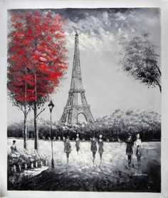 """Amazon.com: """"The Eiffel Tower, Paris"""" - Large Fine Art oil on canvas painting. Superb quality and craftsmanship.: Home & Kitchen"""