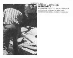 """Antonieta Sosa. 1969.  """" A las 12 de mediodía del domingo 7 de septiembre de 1969, la artista Antonieta Sosa destruyó su obra Plataforma II (21) frente al entonces Museo de Bellas Artes de Caracas. La acción formó parte de la protesta en contra de la participación de Venezuela en la X Bienal de Sao Paulo"""""""