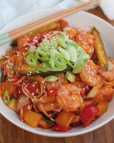 Recept: Garnalen in zoetzure saus met rijst - Savory Sweets