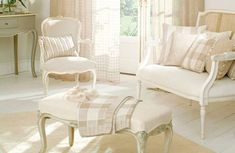 French-style furniture, fabrics and accessories create an elegant look. If you're going for this style, choose colours that are typically French – muted, pearly, smoky tones, rather than bold brights. Fabrics by Harlequin