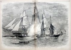 """Pirate Ship Battle between USS Frigate St. Lawrence and Privateer """"Petrel"""""""