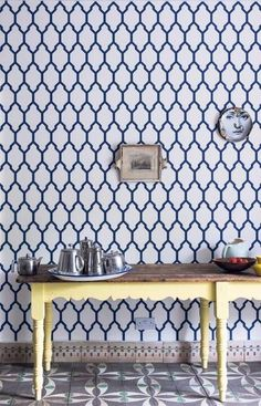 Farrow & Ball's Tessella wallpaper-- how do you feel about some wallpaper? On one wall?