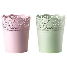 I want to use the pale purple pot and place a potted orchid in it for the centerpieces.    SKURAR Plant pot - IKEA.