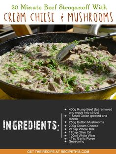One Pot Cooking | 20 Minute Beef Stroganoff With Cream Cheese & Mushrooms