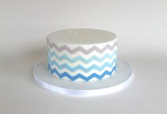 Blue Ombre Icing Nautical Cake