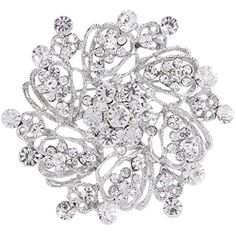 EVER FAITH SilverTone Austrian Crystal Elegant Flower Bridal Corsage Brooch Pin Clear ** Find out more about the great product at the image link. Note: It's an affiliate link to Amazon.