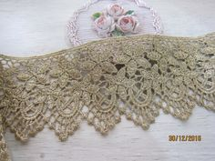 1 yard- Vintage Golden Thread Venice Lace/NV219-Antique Gold Vintage Lace/ Venice lace