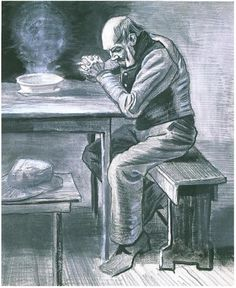 Prayer Before the Meal by Vincent Van Gogh - 1405 - Drawing