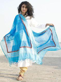 Sky Blue Ivory Kota Silk Hand Black Printed Dupatta With Ajrakh Printed Stitched Highlighting  - D04170129  #dupatta #Buydupatta #Onlinedupatta #Newdupatta #Buyonlinedupatta #Shopdupatta #Cottondupatta #blockprint #dupattas #womendupatta #longdupatta #ladiesdupatta #naturaldye #traditionalart #ethnic #indo-western #fushiondupatta #fashion #style #tyeanddye