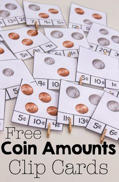 Counting Money Clip Cards for Coins Free counting coins clip cards and great books for learning about coins and money.Free counting coins clip cards and great books for learning about coins and money. Money Activities, Math Resources, Activities For Kids, Life Skills Activities, Montessori Activities, Counting Money, Counting Coins, Learning Money, Teaching Kids Money