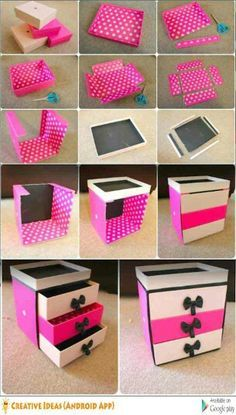 Makeup or Jewelry box made with cardboard box