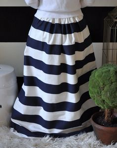 Navy and White Striped Maxi Ball Skirt full by SandeeRoyalty
