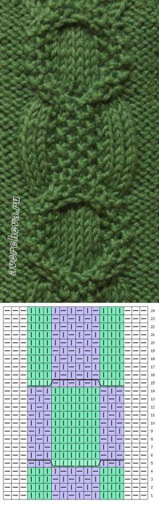 узор 374 коса 12 петель | каталог вязаных спицами узоров