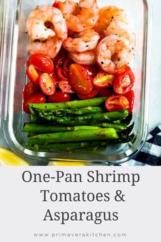 One-Sheet Pan Shrimp with Cherry Tomatoes and Asparagus is delicious and super-easy to make. You'll be amazed at how only 5 ingredients can make a healthy gluten free meal-prep for your entire week. Healthy Meal Prep, Healthy Eating, Keto Meal, Quick Meals To Make, Healthy Gluten Free Recipes, Asparagus Recipe, Whole 30 Recipes, Quick Recipes, One Pot Meals