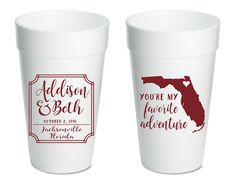 State Wedding Cups Foam Cups Adventure Weddings Custom Cups Wedding Cups Anniversary Cups Rehearsal Dinner Cups Shower Cups 1512 by SipHipHooray