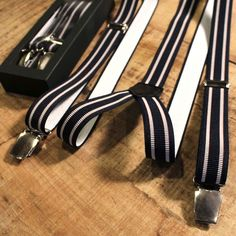 Trico Hollaender Suspenders Navy Grey Stripe : SUNSETSTAR Edwin Jeans, Universal Works, Red Wing Shoes, Japanese Denim, Workout Accessories, Vintage Inspired Dresses, Suspenders, Grey Stripes, Old School