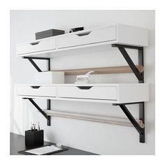 EKBY ALEX / EKBY VALTER Shelf with drawer - white/black - IKEA Plan storage in wall bracket