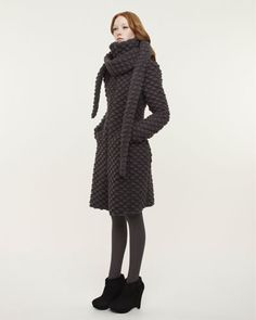 Boiled wool jacket and scarf by Marie Saint Pierre. Love the texture and shape.