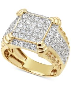 Shine with distinction in this handsome composite round-shape diamond cluster men's ring ct.) artistically rendered in gold. David Yurman Mens Ring, Macys Mens, 10k Gold Ring, Gold Rings, Jewelry Rings, Jewelry Watches, Jewlery, Men's Watches, Diamond Jewelry