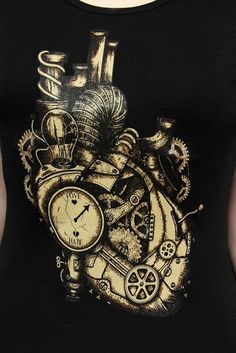 Mechanical Heart Steampunk Ladies Black T-Shirt by Restyle