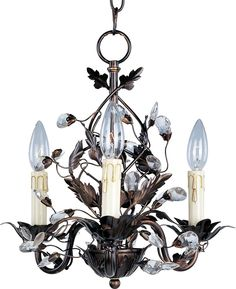 "Item #:	  6K5C    Item Name:	  Three Light Bronze Up Mini Chandelier    Dimensions: 							  14.50"" Tall x 14.00"" Wide    Finish:	    Family:	  Elegante    Sockets:	  3 Candelabra Bulbs, 60 watts  Three Light, Dry Rated. Mini Chandelier Elegante. Delicate Leaves And Crystals Top The Wrap-around Vines. Offered In Etruscan Gold Or Oil Rubbed Bronze. Style: Leaf/flower/fruit  Warranty: 1 Year; $170.88"