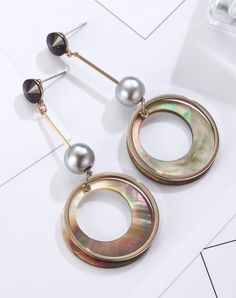 #VIPshop Viennois Fine Alloy Artificial Shell Dangle Earrings ❤️ Get more outfit ideas and style inspiration from fashion designers at VIP.com.