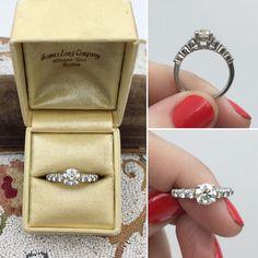 """Platinum """"Gemlok"""" Round Brilliant Diamond Engagement Ring, 1.42 ct tw"""
