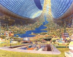 Toroidal interior of one of the lost space colonies of NASA (1970s)