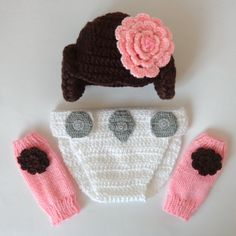 Princess Leia Costume Set 3pcs Baby Hat Diaper by KernelCrafts