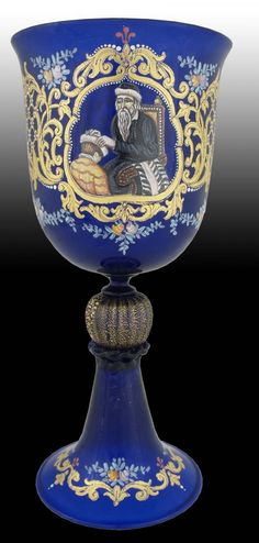 Moser Enamel on Glass Blue Goblet