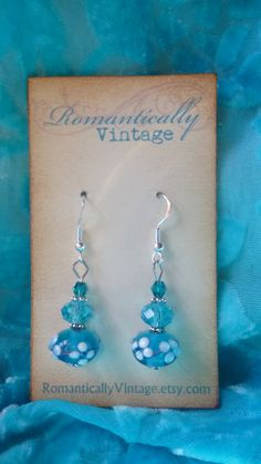 Vintage Spring Blue Beaded Earrings Floral by RomanticallyVintage, $18.00