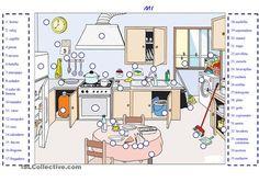 Hoja de trabajo para aprender/repasar/practicar léxico de las cosas que hay en una cocina. - Trabajos ELE