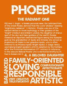 PHOEBE Personalized Name Print / Typography Print / by OhBabyNames