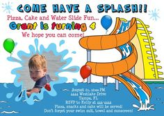 free invitation templates kids christmas waterpark | waterslide water park birthday invitation waterslide water park ...