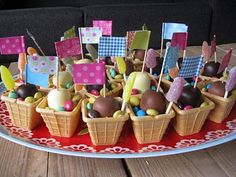 Cute lolly bag idea - square ice cream cones filled with brightly coloured lollies x