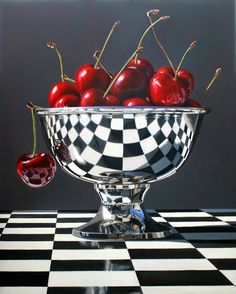 artnet Galleries: Beautiful Bings by Daryl Gortner from Skidmore Contemporary Art art cherry metal bowl reflection Eugenie Of York, Damier, Realistic Paintings, Funny Paintings, Color Pencil Art, Still Life Art, Photorealism, Oeuvre D'art, Amazing Art