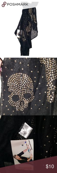 Skull Fashion Scarf Super cute & fun fashion Skull Scarf!!  Softly Studded Gold Skull Detail By Donna Diosa Light-weight fabric  Large size, great for layering Never worn!! Black, sheer fabric,  gold, soft studded skull detail Donna Diosa Accessories Gloves & Mittens