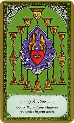 Rumi Tarot Card Art | Nine of Cups | 9 | minor arcana suit | Divination | Oracle Cards