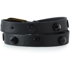 Tory Burch Studded Double-Wrap Leather Bracelet ($95) ❤ liked on Polyvore featuring jewelry, bracelets, black, leather wrap bracelet, leather jewelry, leather bangles, tory burch bangle and tory burch jewellery