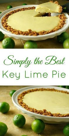 Simply the Best Key Lime Pie Recipe I've found! This recipe is so easy to make and is like a little taste of tropical paradise! Simply the Best Key Lime Pie Recipe I've found! This recipe is so easy to make and is like a little taste of tropical paradise! Key Lime Desserts, Easy Desserts, Delicious Desserts, Dessert Recipes, Yummy Food, Baking Desserts, Cake Baking, Cold Desserts, Dessert Food