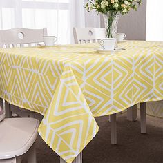 Uforme Classic Table Cloth Geometric Pattern Design Tabletop Decorations Washable Table Cover Fabric for Dinning Room, Light Yellow and White, 55 Inch By 95 Inch Yellow Tablecloth, Tablecloth Rental, Tablecloths For Sale, Modern Tabletop, White Table Top, Geometric Pattern Design, Tabletop Accessories, Dining Table In Kitchen, Table Covers