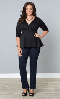 Pair our newly stocked NYDJ Marilyn Straight Leg Jeans with our plus size Party Ponte Peplum Top for a sleek look.  Add a killer statement necklace and heels for a night on the town.  www.kiyonna.com  #KiyonnaPlusYou  #MadeintheUSA  #Kiyonna  #Style  #Fashion
