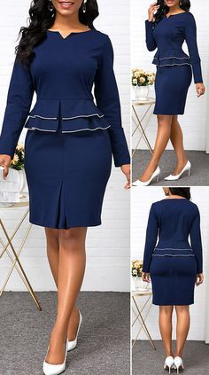 Split Neck Long Sleeve Peplum Waist Dress - New Site Latest African Fashion Dresses, African Dresses For Women, Outfits Dress, Casual Dresses, Fashion Outfits, Dresses For Work, Dresses Dresses, Dance Dresses, Classy Work Outfits