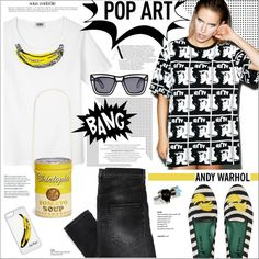 I Shot Andy Warhol by houseofhauteness on Polyvore featuring polyvore fashion style Sonia by Sonia Rykiel BOY London Blue Bird Chictopia Delfina Delettrez CellPowerCases Ksubi Anja Andy Warhol blackandwhite Banana popart andywarhol