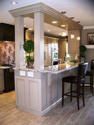 Kitchen Living Rooms Remodeling Galley Kitchen With Bar Separating Dining Room Design Ideas, Pictures, Remodel, and Decor - page 2 - Kitchen Living, Kitchen And Bath, Kitchen Decor, Kitchen Ideas, Kitchen Pictures, Kitchen Storage, Design Kitchen, Kitchen Small, Small Dining