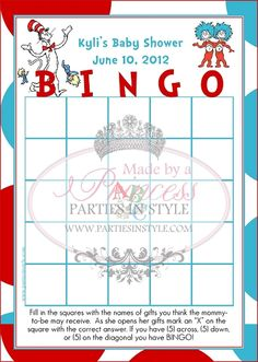 Baby Gift Bingo Baby Shower Game Dr Seuss Inspired Reveal Parties, Baby Decor, Baby Shower Games, Bingo, Baby Ideas, Aunt, Showers, Shower Ideas, Baby Gifts