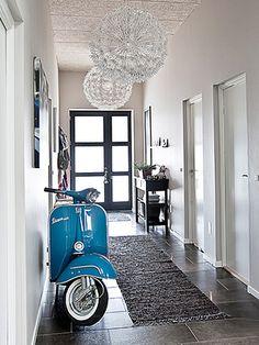 I love vespas as art. Hallway. Vespa. Light #vespa #art #house