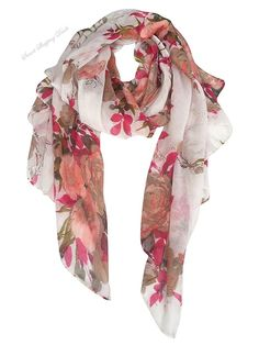 Lightweight Shawl Scarf Peony Print Beach Wrap For Hawaiian Vacation Rose Khaki  #GERINLY
