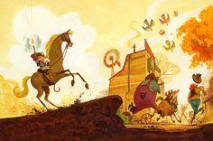 "art, illustration, western, horse, animal, figure, child, boy, man, bird, landscape, building, gun //  From ""De Coole Cowboy""Wouter Tulp."